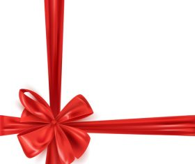 Red bows with white background vector 02