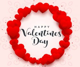 Red heart frame with valentines day design vector