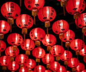Red lanterns at Tianfu Palace Singapore Stock Photo