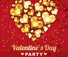 Red valentine party flyer with golden diamond vector