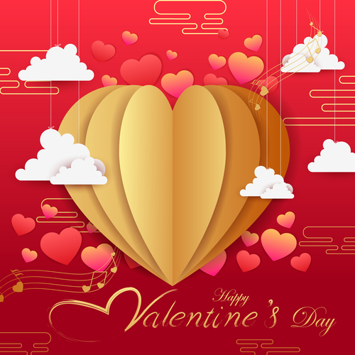 Red valentines day card with music note vector