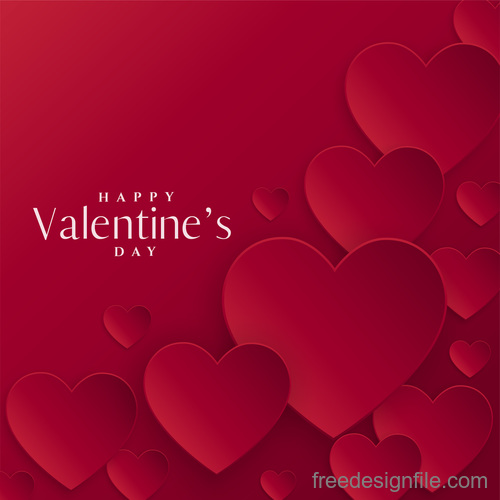 Red valentines day card with red paper heart vector