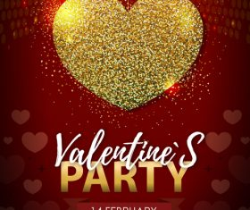 Red valentines day party flyer template with golden heart shape vector 01