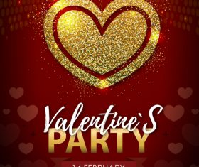 Red valentines day party flyer template with golden heart shape vector 02
