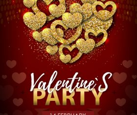 Red valentines day party flyer template with golden heart shape vector 03