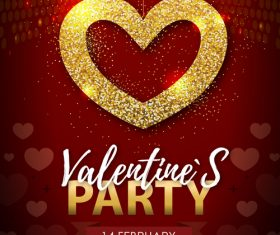 Red valentines day party flyer template with golden heart shape vector 05