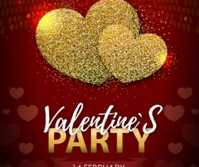 Red valentines day party flyer template with golden heart shape vector 06