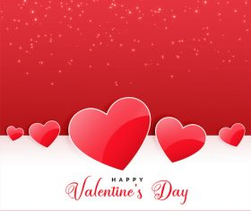 Red with white valentines day card vectors