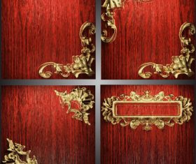 Red wooden background with gold metal vectors 02