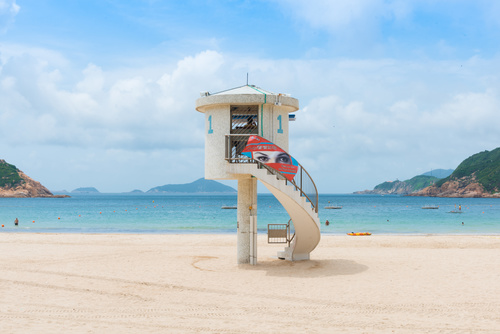 Rescue watchtower on the beach Stock Photo 01
