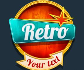 Retro arrow labels with neon vector