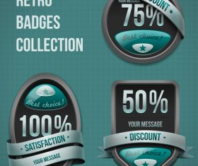 Retro discount badge design vector