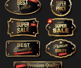 Retro vintage black and gold badges and labels vector 03