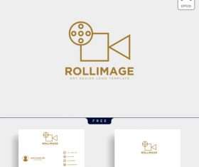 Roll image logo and business card template vector