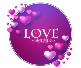 Round purple valentines day card vector