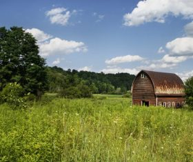 Rusty Barn in Field Stock Photo
