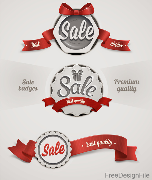 Sale badge with red ribbons vectors