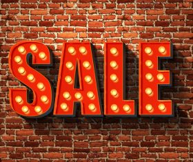 Sale neon sing with wall background vetor
