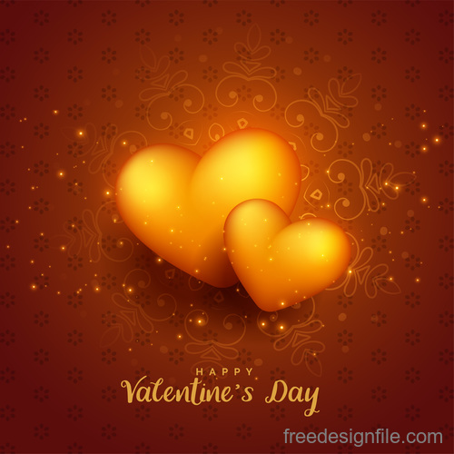 Shiny 3d heart valentines day background vector