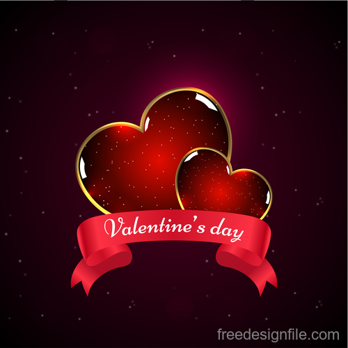 Shiny glass heart with valentines day ribbon banner vector