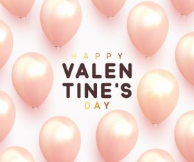 Shiny pink balloons with valentines day background vector 01