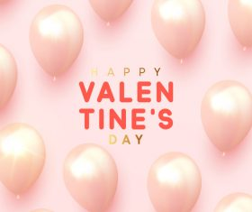 Shiny pink balloons with valentines day background vector 02