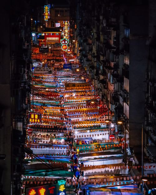 Shooting a lively night market at high altitude Stock Photo