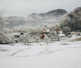 Snow-covered village Stock Photo