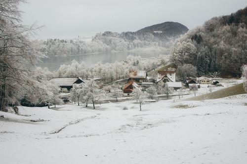 Snow covered village Stock Photo