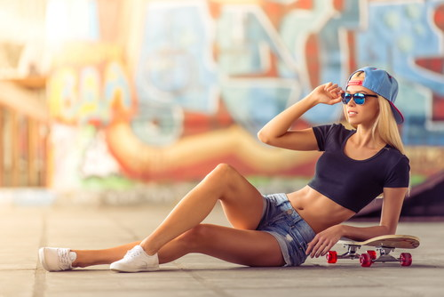 Sports casual long legs girl Stock Photo