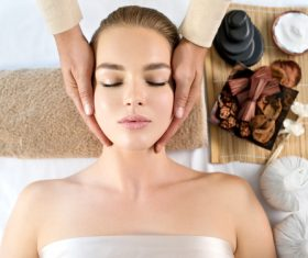 Stock Photo Woman having massage in the spa salon 01