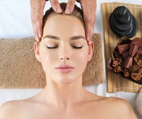 Stock Photo Woman having massage in the spa salon 02