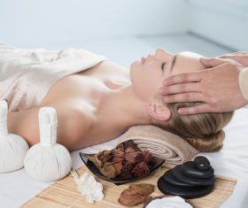 Stock Photo Woman having massage in the spa salon 03