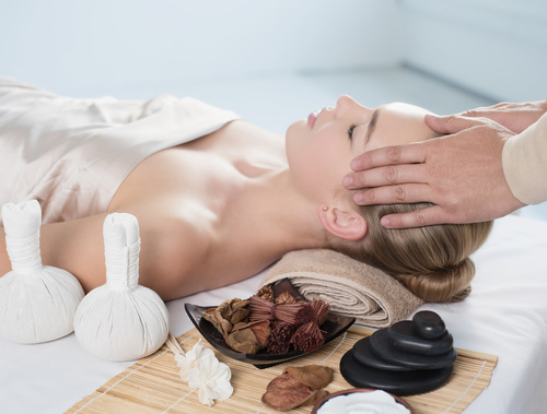 Stock Photo Woman having massage in the spa salon 03