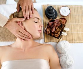 Stock Photo Woman having massage in the spa salon 04