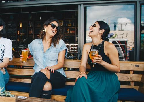 Stock Photo Women drinking beer chat 01