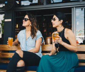 Stock Photo Women drinking beer chat 02