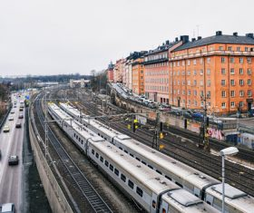 Street view of Stockholm Sweden Stock Photo 01