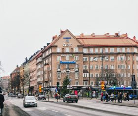 Street view of Stockholm Sweden Stock Photo 02