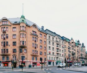 Street view of Stockholm Sweden Stock Photo 03