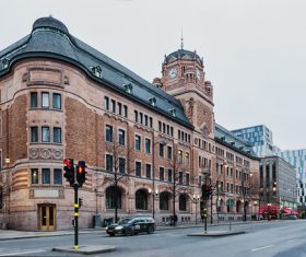 Street view of Stockholm Sweden Stock Photo 04