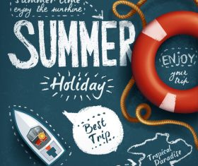 Summer hand drawn with blackboard background vector