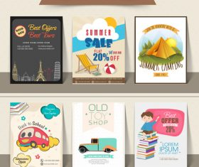 Summer sale with back to school flyer template vector