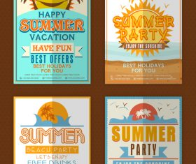 Summer vacation party flyer with poster template vector