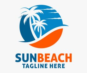Sun beach logo design vectors 01