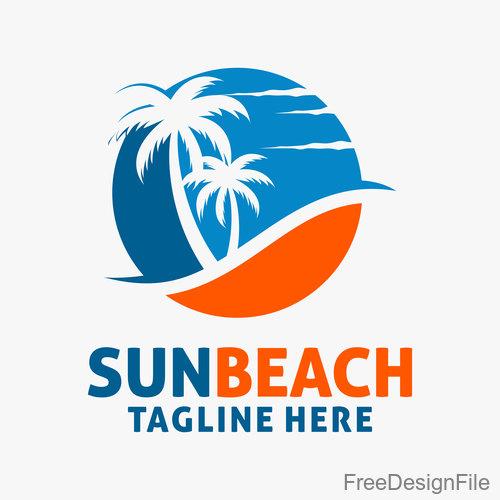 Sun beach logo design vectors 01