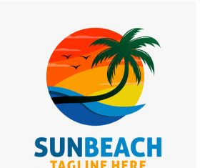Sun beach logo design vectors 02
