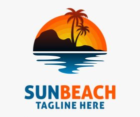 Sun beach logo design vectors 03