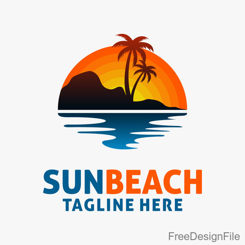 Sun beach logo design vectors 03