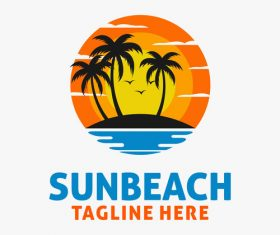 Sun beach logo design vectors 04
